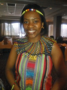 Maka celebrating her Ndebele heritage at a school event